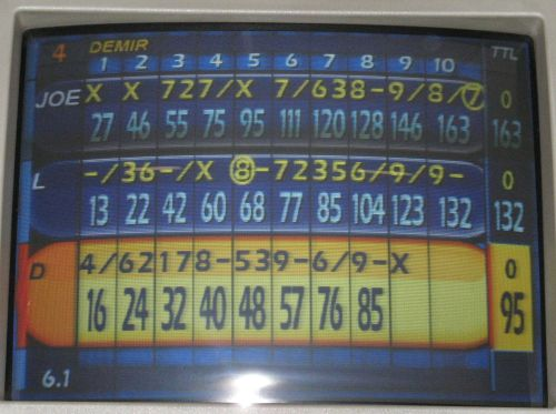 for 4 of the first 5 frames of the second game i scored strikes my run went downhill from then on until the final frame frame 10 strike strike strike